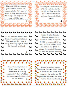 Adding, Subtracting, Multiplying & Dividing Decimals Halloween Themed Task Cards