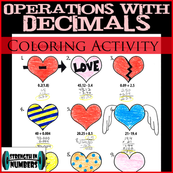 Adding Subtracting Multiplying Dividing Decimals Heart Coloring Activity