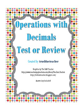 Adding, Subtracting, Multiplying & Dividing Decimals Quiz or Review