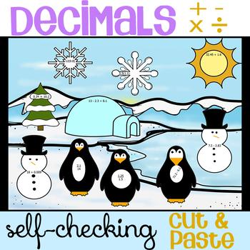 Adding Subtracting Multiplying Dividing Decimals Cut & Paste Winter Activity