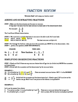adding subtracting multiplying  dividing fraction review sheet by  adding subtracting multiplying  dividing fraction review sheet