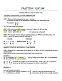 Adding, Subtracting, Multiplying & Dividing Fraction review sheet
