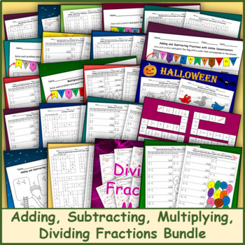Adding, Subtracting, Multiplying, Dividing Fractions Bundle