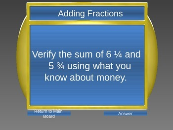 Adding, Subtracting, Multiplying & Dividing Fractions Game
