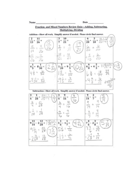 Adding Subtracting Multiplying Dividing Fractions and Mixed Numbers Review