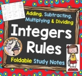 Adding Subtracting Multiplying Dividing Integers Rules Foldable Study Notes