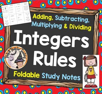 Adding Subtracting Multiplying Dividing Integers Rules Fol