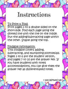 Adding, Subtracting, & Multiplying Polynomials Foldable