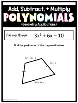 Adding, Subtracting, & Multiplying Polynomials (Scavenger Hunt)