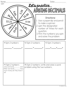 Adding, Subtracting, Multiplying and Dividing Decimal Spinner