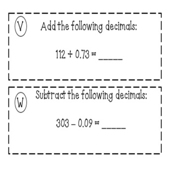 Adding, Subtracting, Multiplying and Dividing Decimals Task Cards