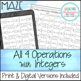 Adding, Subtracting, Multiplying, and Dividing Integers Maze