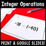 Adding, Subtracting, Multiplying, and Dividing Integers Task Cards