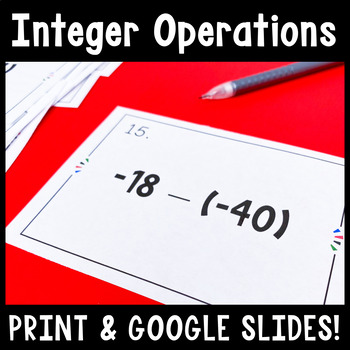 Adding, Subtracting, Multiplying, and Dividing Integers Ta