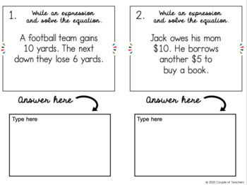 Adding, Subtracting, Multiplying, and Dividing Integers Word Problems Task Cards