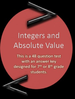 Adding, Subtracting, Multiplying, and Dividing Integers and Absolute ValueTest