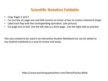 Adding, Subtracting, Multiplying and Dividing Scientific Notation Foldable