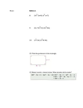 Adding, Subtracting, Multiplying and Factoring Polynomials Notes