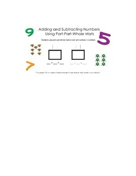 Adding & Subtracting Numbers Using Part-Part-Whole Mats
