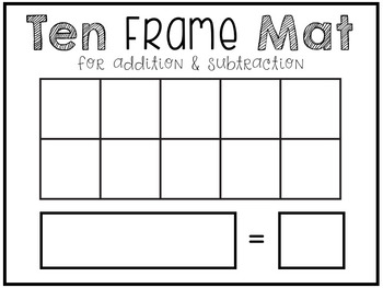 adding subtracting numbers to 10 ten frame mat for playdough or