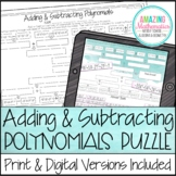 Adding & Subtracting Polynomials Puzzle Worksheet