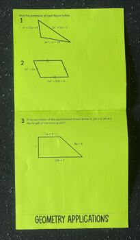 Adding and Subtracting Polynomials (Algebra Foldable)
