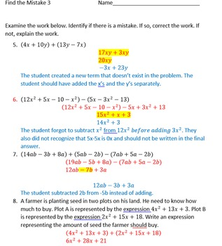 Adding & Subtracting Polynomials Find the Mistake