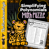 Adding & Subtracting Polynomials Math Puzzle