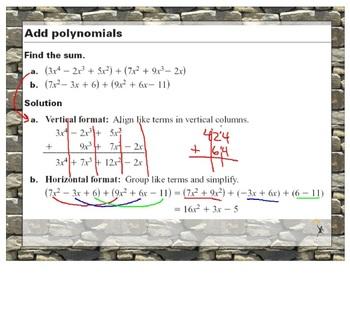 Adding & Subtracting Polynomials Promethean Notes