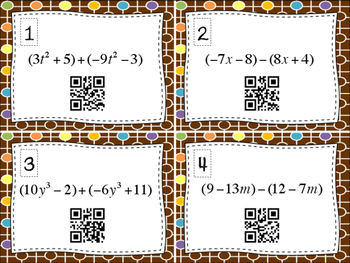 Adding & Subtracting Polynomials QR Code Task Cards
