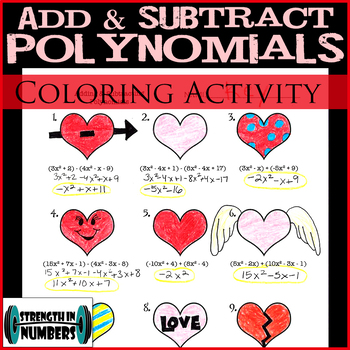 Adding Subtracting Polynomials Valentine's Day Heart Coloring Activity