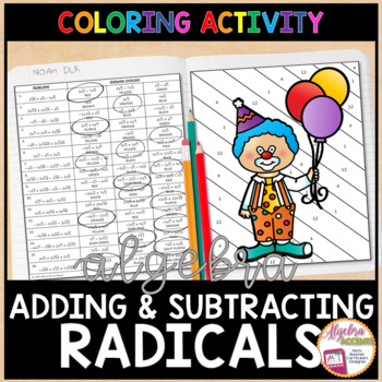 Adding and Subtracting Radicals Coloring Activity
