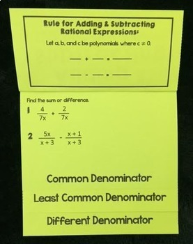 Adding & Subtracting Rational Expressions (Foldable)