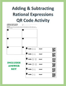 Adding & Subtracting Rational Expressions QR Code Activity