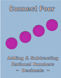 """Adding & Subtracting Rational Numbers (Decimals) """"Connect Four"""" Game"""