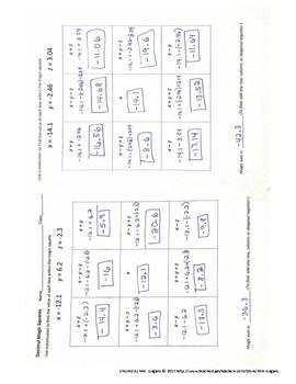 Adding & Subtracting Rational Numbers (Decimals) Magic Squares