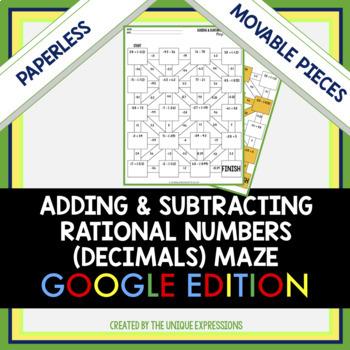 Adding & Subtracting Rational Numbers Digital Maze Activity (Decimals)