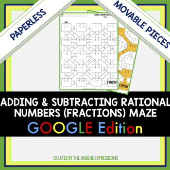 Adding & Subtracting Rational Numbers Digital Maze Activity - Fractions