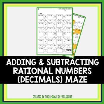 Adding & Subtracting Rational Numbers Maze Activity (Decimals)