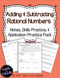 Adding & Subtracting Rational Numbers - Notes, Practice, and Application Pack
