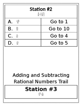 Adding & Subtracting Rational Numbers Trail