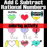 Adding Subtracting Rational Numbers Valentine's Day Heart Coloring