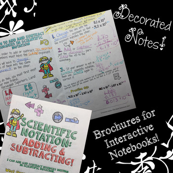 Adding & Subtracting Scientific Notation - Decorated Notes Brochure for INBs