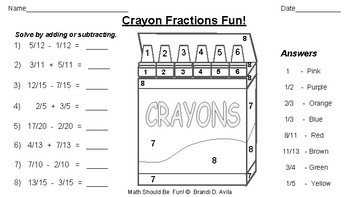 Adding Subtracting Simplifying Fractions Fun