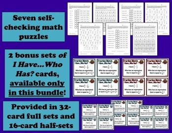Adding & Subtracting Unlike Denominators - task card + printables bundle