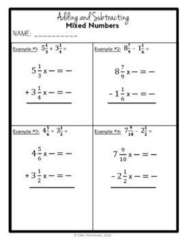 Adding & Subtracting Unlike Mixed Numbers, Complete Lesson Packet, 5.NF.A.1
