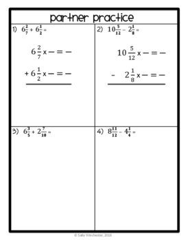 FREEBIE: Adding & Subtracting Unlike Mixed Numbers, 8-Page Lesson Packet + Quiz