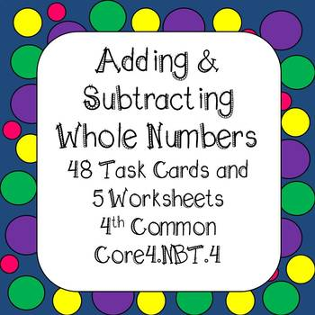 Adding & Subtracting Whole Numbers Distance Learning Google Classroom 4th Grade