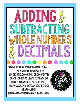 Adding & Subtracting Whole Numbers & Decimals (EnVision 5t