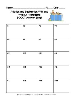 Summer Themed Adding & Subtracting With & Without Regrouping Task Cards & Game